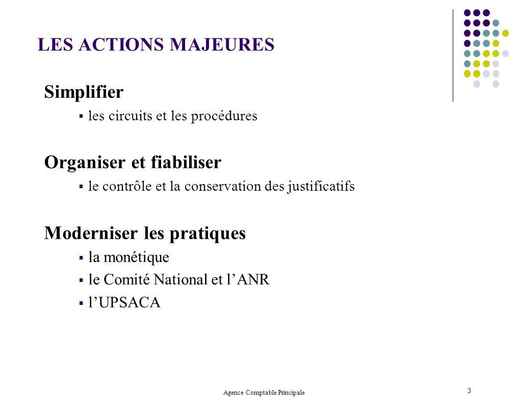 Agence Comptable Principale 3 LES ACTIONS MAJEURES Simplifier les circuits et les procédures Organiser et fiabiliser le contrôle et la conservation de