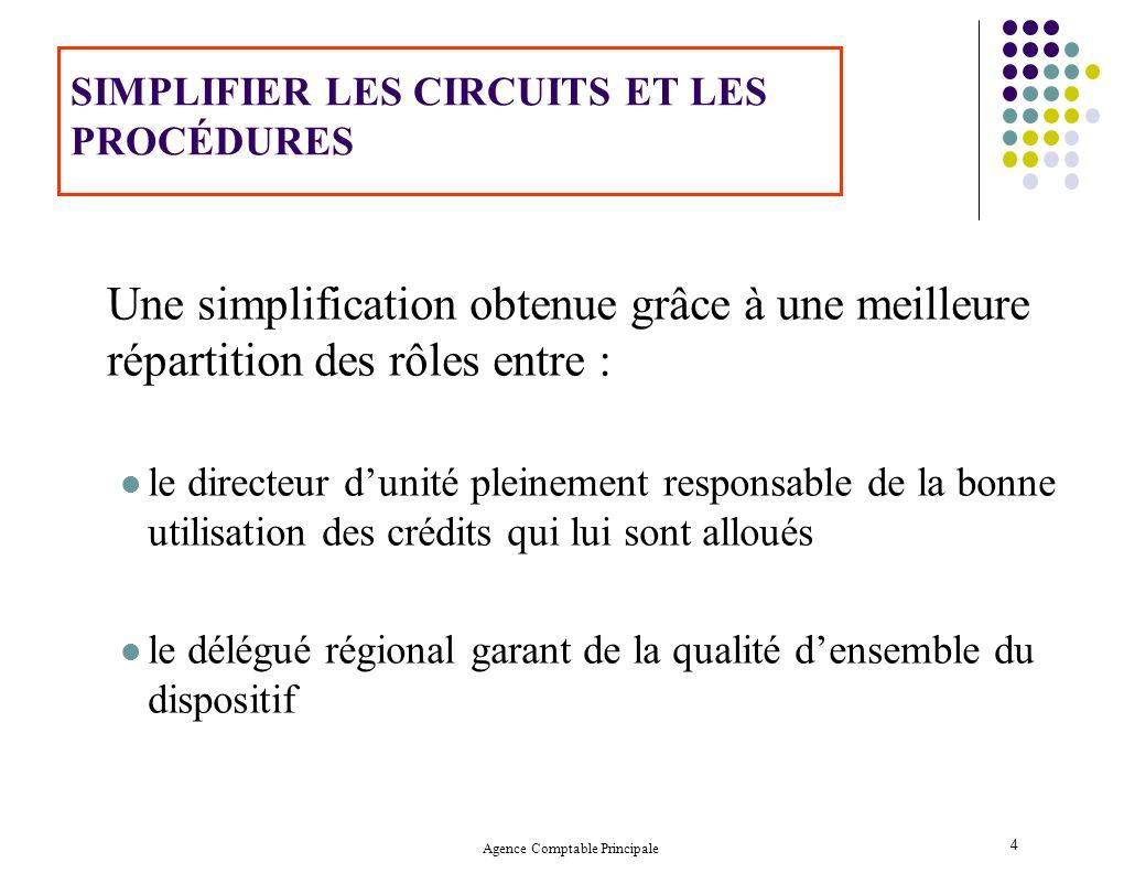 Agence Comptable Principale 4 SIMPLIFIER LES CIRCUITS ET LES PROCÉDURES Une simplification obtenue grâce à une meilleure répartition des rôles entre :
