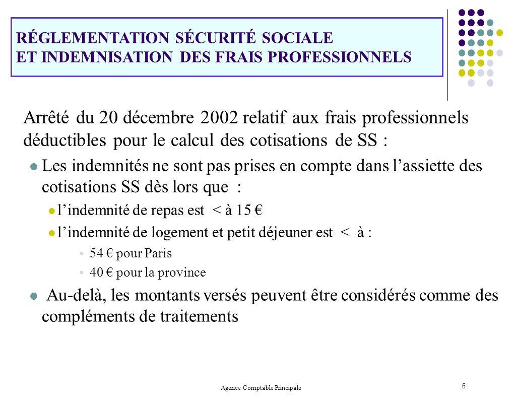 Agence Comptable Principale 6 Arrêté du 20 décembre 2002 relatif aux frais professionnels déductibles pour le calcul des cotisations de SS : Les indem