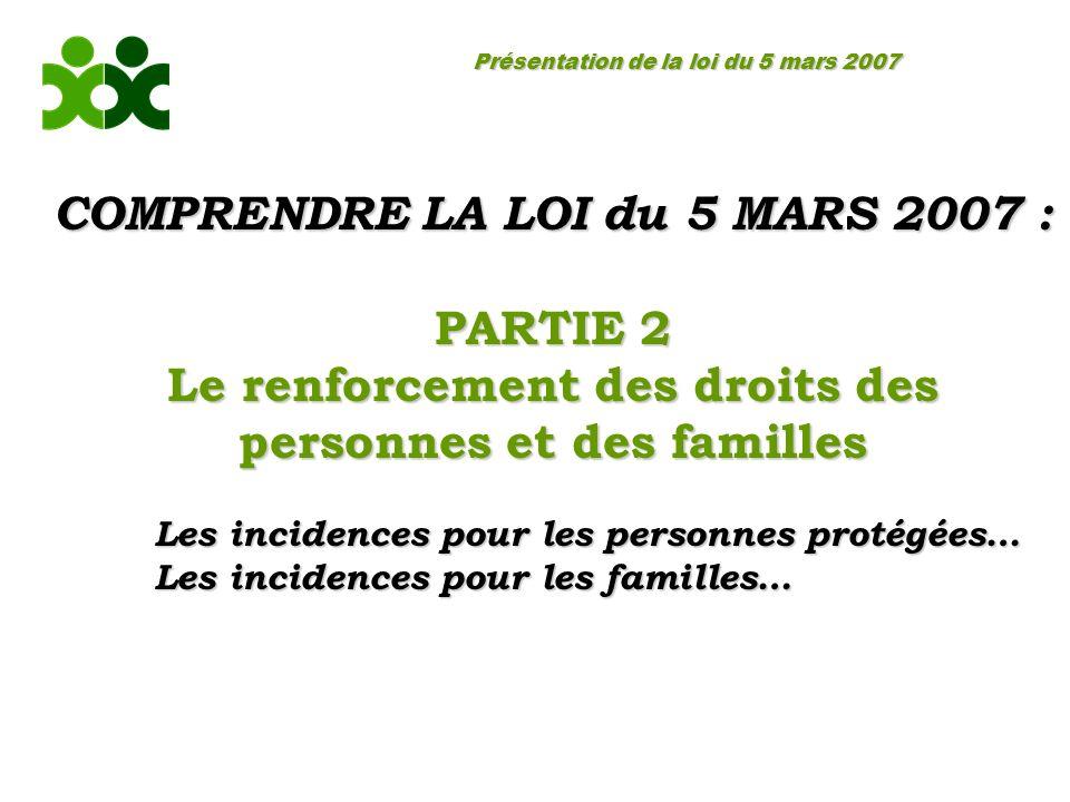 Présentation de la loi du 5 mars 2007 COMPRENDRE LA LOI du 5 MARS 2007 : PARTIE 2 Le renforcement des droits des personnes et des familles Les incidences pour les personnes protégées… Les incidences pour les familles…