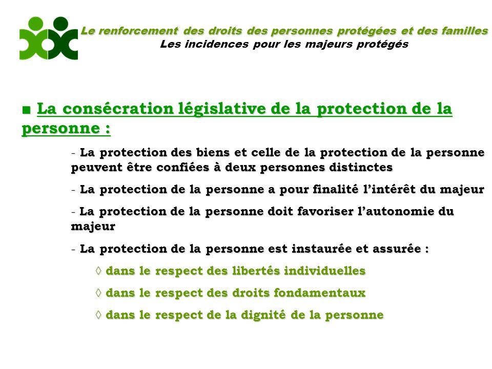 Le renforcement des droits des personnes protégées et des familles Les incidences pour les majeurs protégés La consécration législative de la protecti