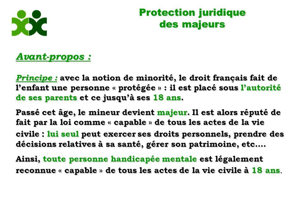 Protection juridique des majeurs Avant-propos : Principe : avec la notion de minorité, le droit français fait de lenfant une personne « protégée » : il est placé sous lautorité de ses parents et ce jusquà ses 18 ans.