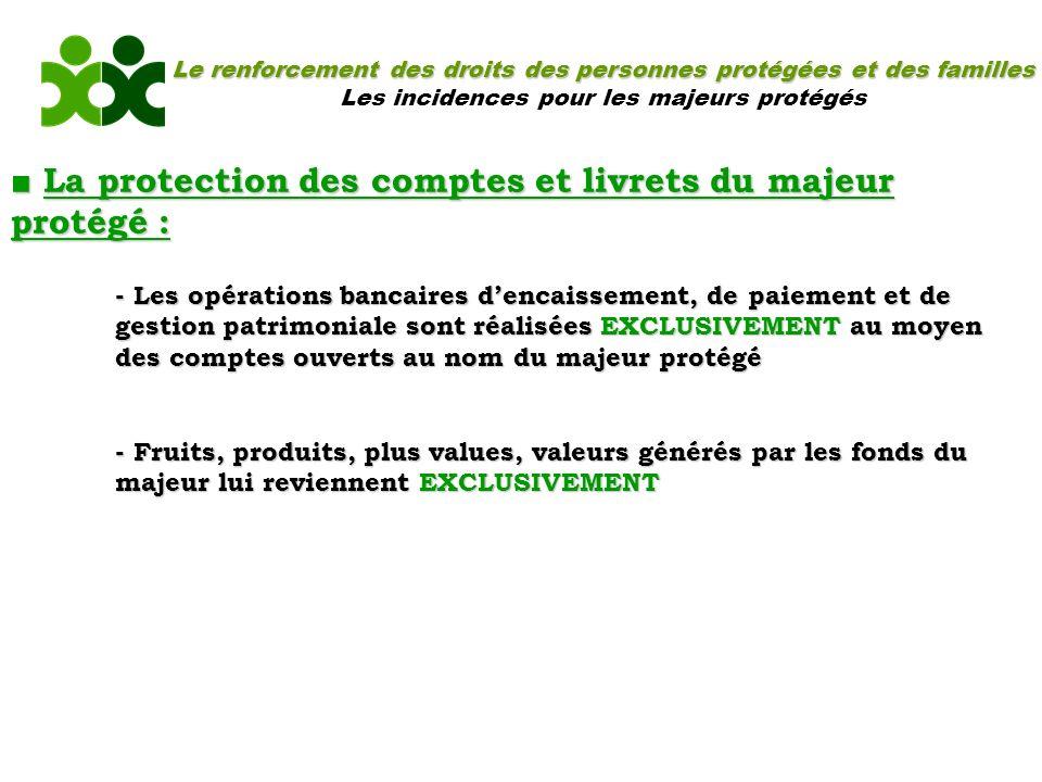 Le renforcement des droits des personnes protégées et des familles Les incidences pour les majeurs protégés La protection des comptes et livrets du ma