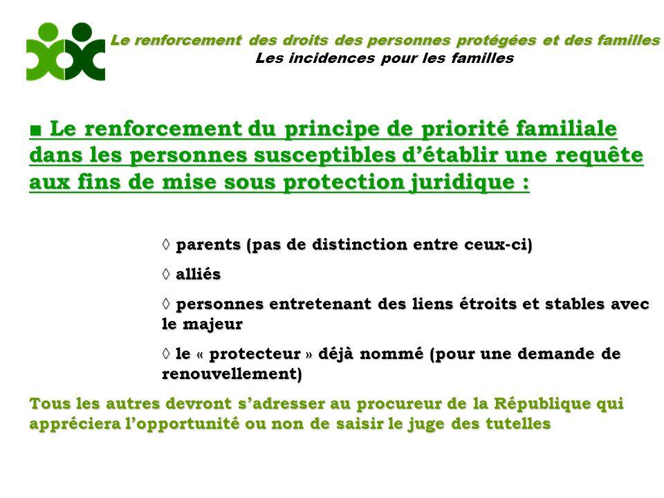 Le renforcement des droits des personnes protégées et des familles Les incidences pour les familles Le renforcement du principe de priorité familiale