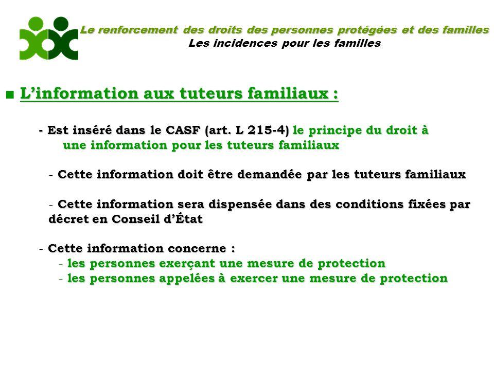 Le renforcement des droits des personnes protégées et des familles Les incidences pour les familles Linformation aux tuteurs familiaux : - Est inséré dans le CASF (art.