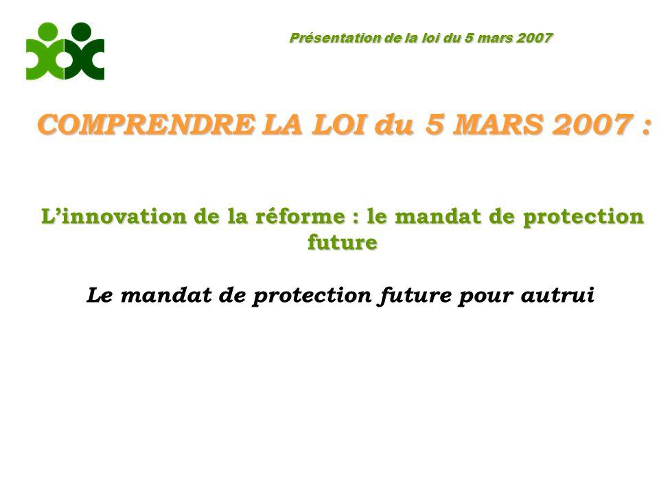 Présentation de la loi du 5 mars 2007 COMPRENDRE LA LOI du 5 MARS 2007 : Linnovation de la réforme : le mandat de protection future Le mandat de protection future pour autrui