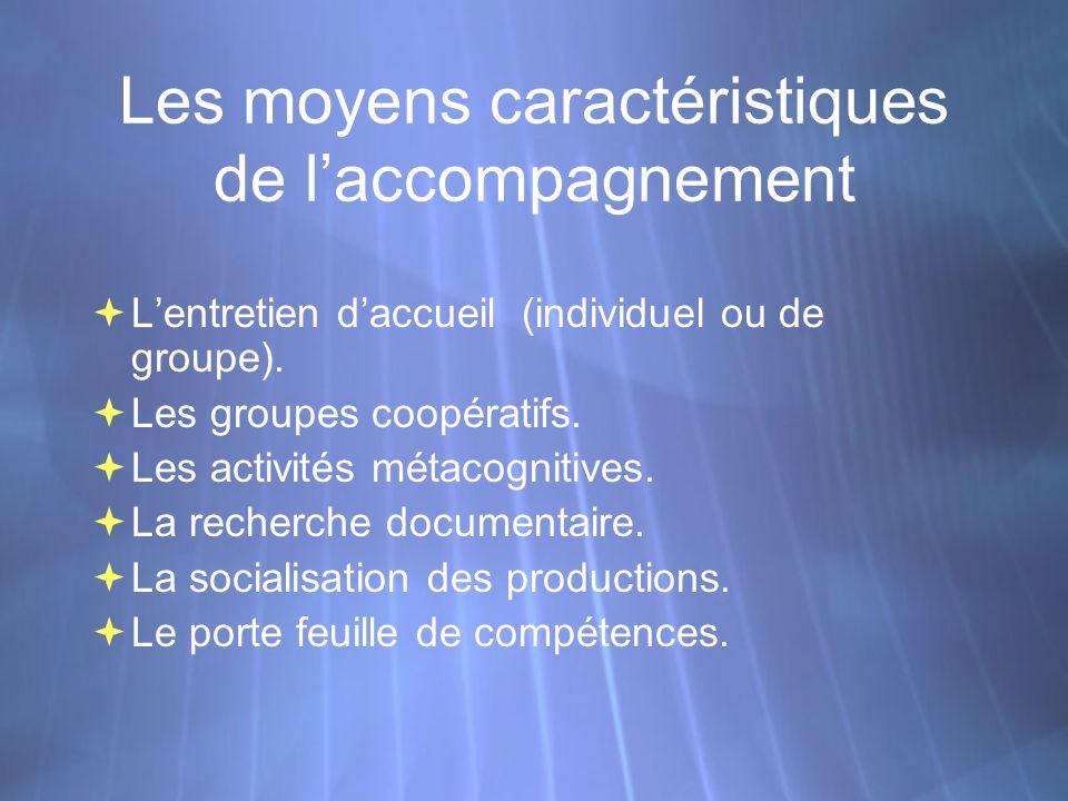 Les moyens caractéristiques de laccompagnement Lentretien daccueil (individuel ou de groupe).