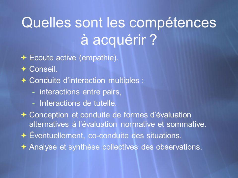 Quelles sont les compétences à acquérir . Ecoute active (empathie).