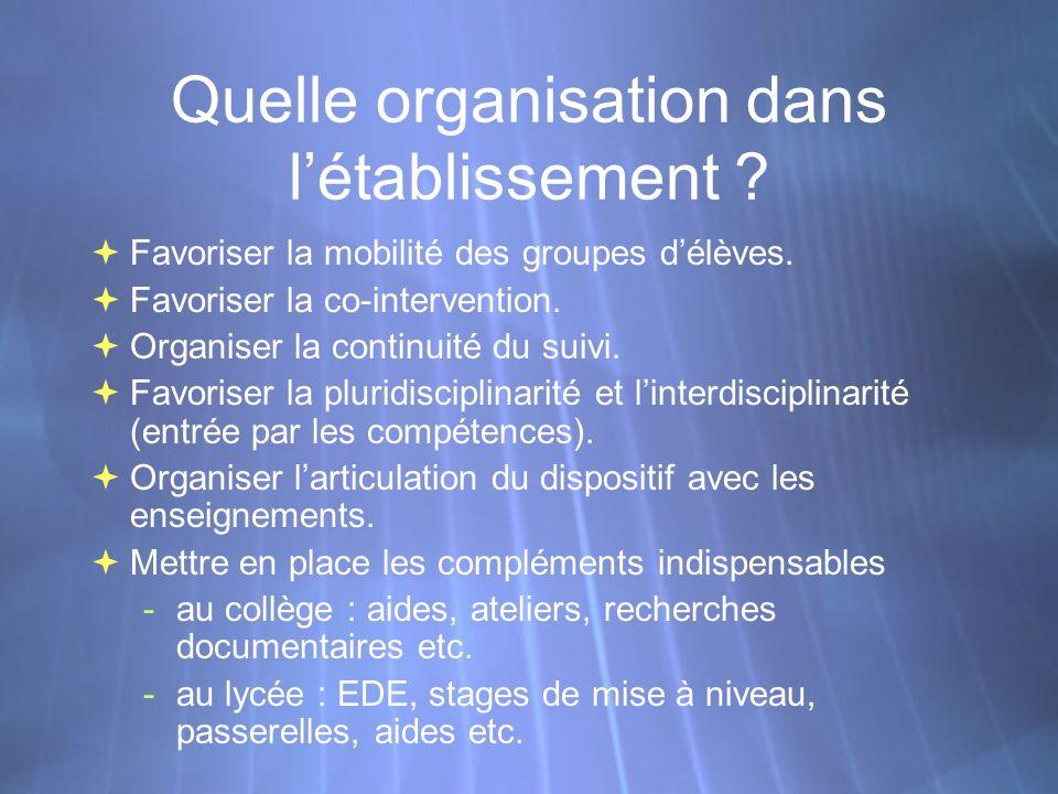 Quelle organisation dans létablissement . Favoriser la mobilité des groupes délèves.