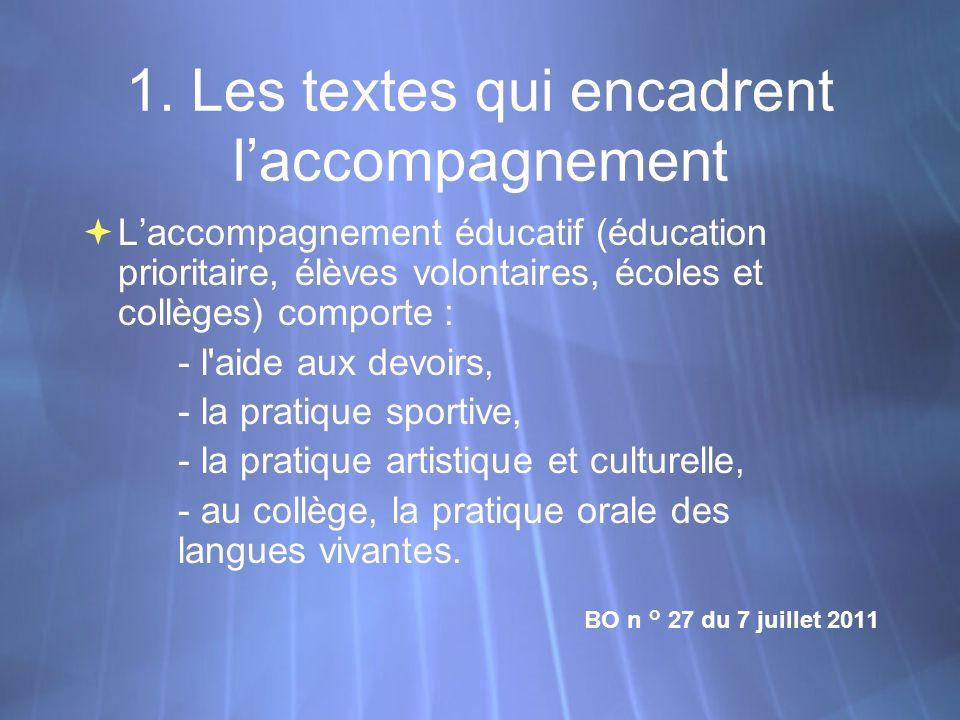 1. Les textes qui encadrent laccompagnement Laccompagnement éducatif (éducation prioritaire, élèves volontaires, écoles et collèges) comporte : - l'ai