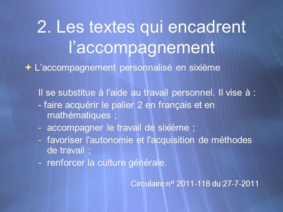 2. Les textes qui encadrent laccompagnement Laccompagnement personnalisé en sixième Il se substitue à l'aide au travail personnel. Il vise à : - faire