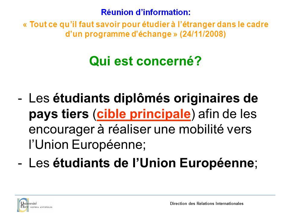 «Tout ce quil faut savoir pourétudieràlétranger dans le cadre dun programme déchange»(24/11/2008) Direction des Relations Internationales Qui est concerné.