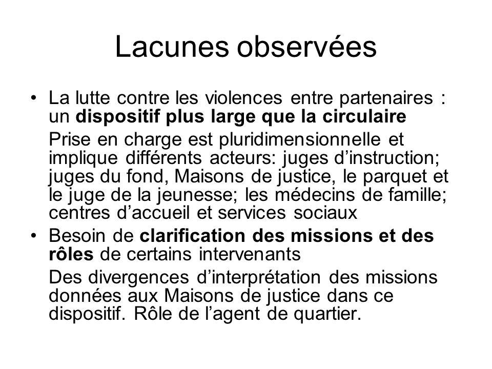 Lacunes observées La lutte contre les violences entre partenaires : un dispositif plus large que la circulaire Prise en charge est pluridimensionnelle