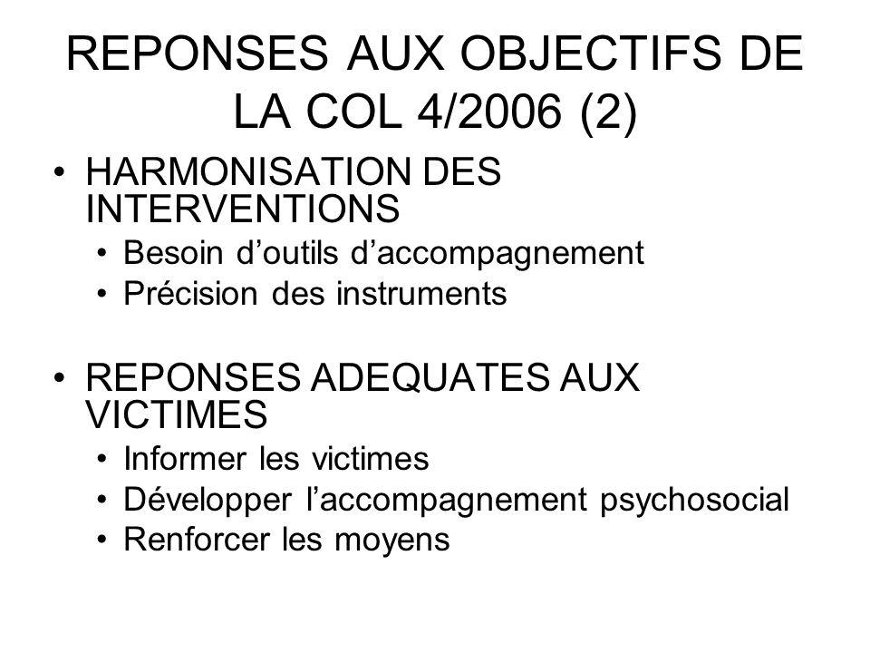 REPONSES AUX OBJECTIFS DE LA COL 4/2006 (2) HARMONISATION DES INTERVENTIONS Besoin doutils daccompagnement Précision des instruments REPONSES ADEQUATE