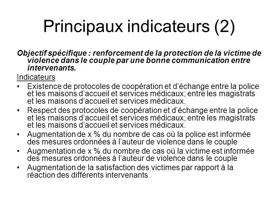 Principaux indicateurs (2) Objectif spécifique : renforcement de la protection de la victime de violence dans le couple par une bonne communication en
