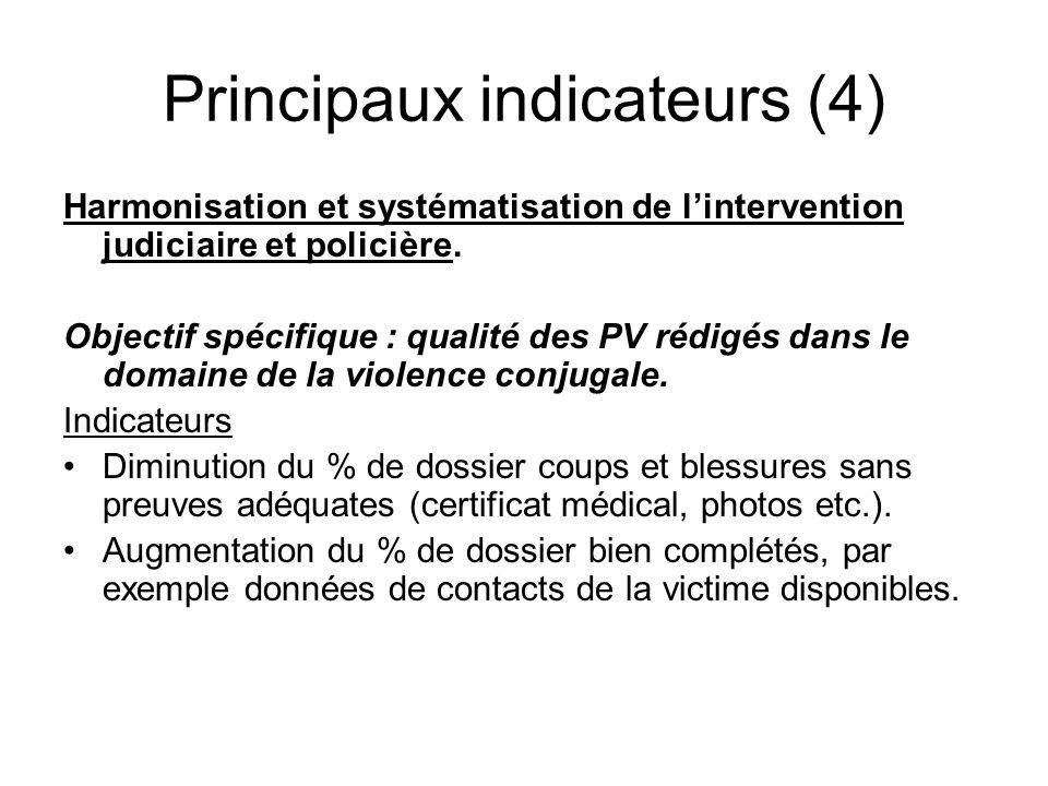 Principaux indicateurs (4) Harmonisation et systématisation de lintervention judiciaire et policière. Objectif spécifique : qualité des PV rédigés dan