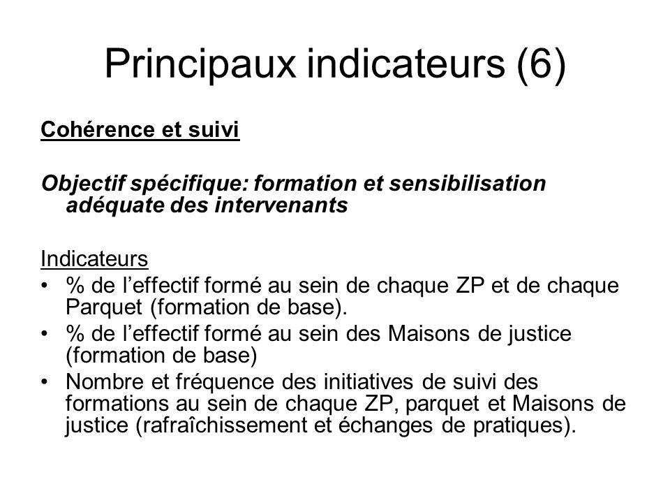 Principaux indicateurs (6) Cohérence et suivi Objectif spécifique: formation et sensibilisation adéquate des intervenants Indicateurs % de leffectif f