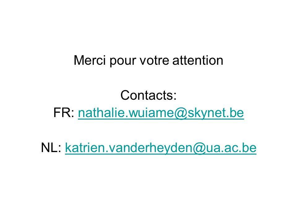 Merci pour votre attention Contacts: FR: nathalie.wuiame@skynet.benathalie.wuiame@skynet.be NL: katrien.vanderheyden@ua.ac.bekatrien.vanderheyden@ua.a