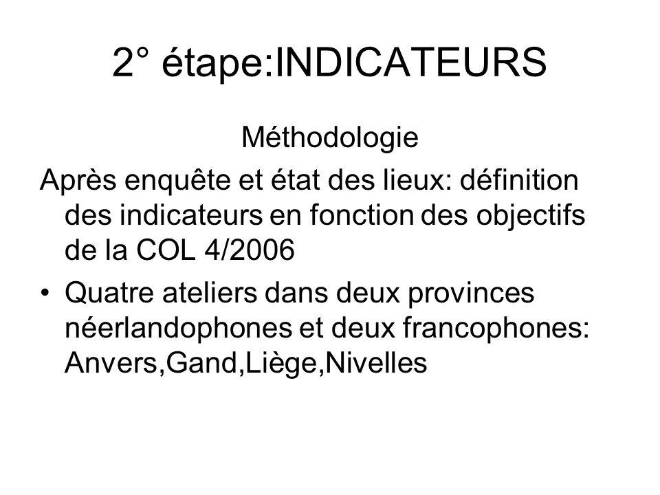 2° étape:INDICATEURS Méthodologie Après enquête et état des lieux: définition des indicateurs en fonction des objectifs de la COL 4/2006 Quatre atelie