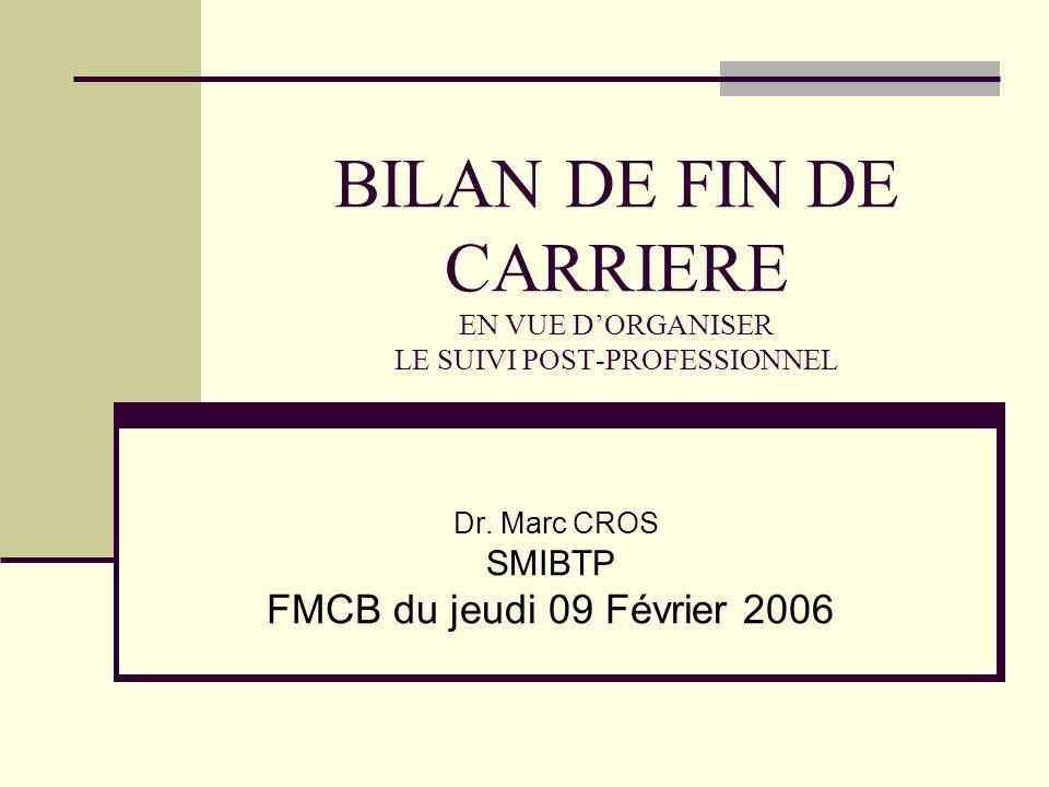 BILAN DE FIN DE CARRIERE EN VUE DORGANISER LE SUIVI POST-PROFESSIONNEL Dr.