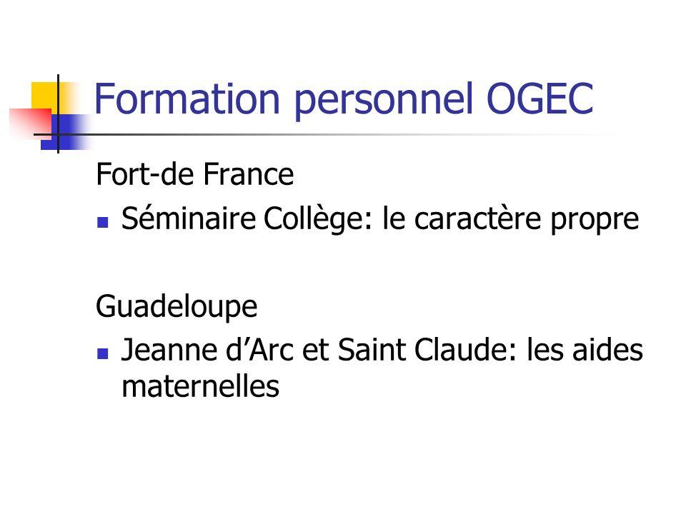 Formation personnel OGEC Fort-de France Séminaire Collège: le caractère propre Guadeloupe Jeanne dArc et Saint Claude: les aides maternelles