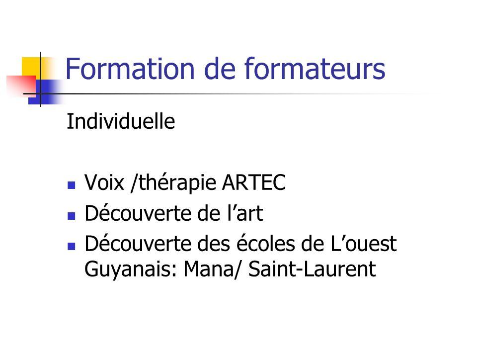 Formation de formateurs Individuelle Voix /thérapie ARTEC Découverte de lart Découverte des écoles de Louest Guyanais: Mana/ Saint-Laurent