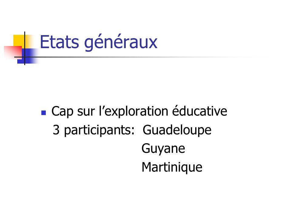 Etats généraux Cap sur lexploration éducative 3 participants: Guadeloupe Guyane Martinique