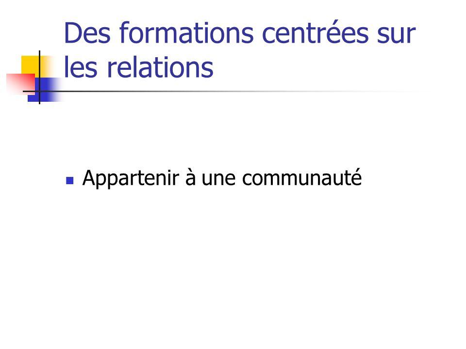 Des formations centrées sur les relations Appartenir à une communauté
