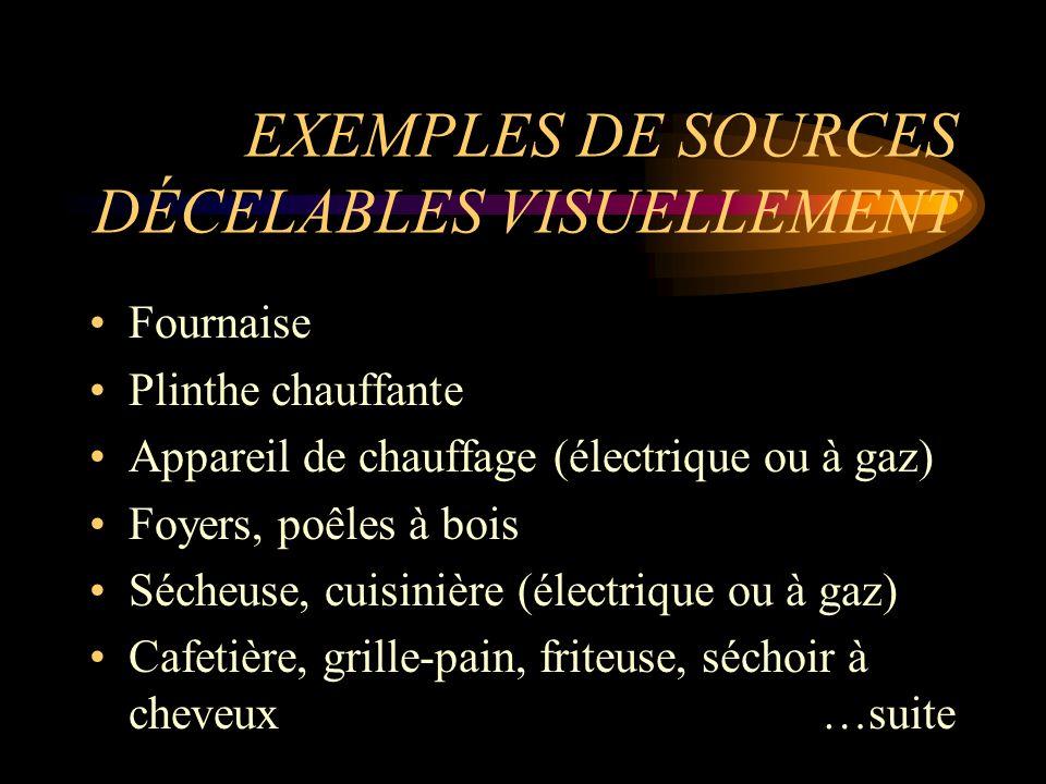 EXEMPLES DE SOURCES DÉCELABLES VISUELLEMENT Fournaise Plinthe chauffante Appareil de chauffage (électrique ou à gaz) Foyers, poêles à bois Sécheuse, c
