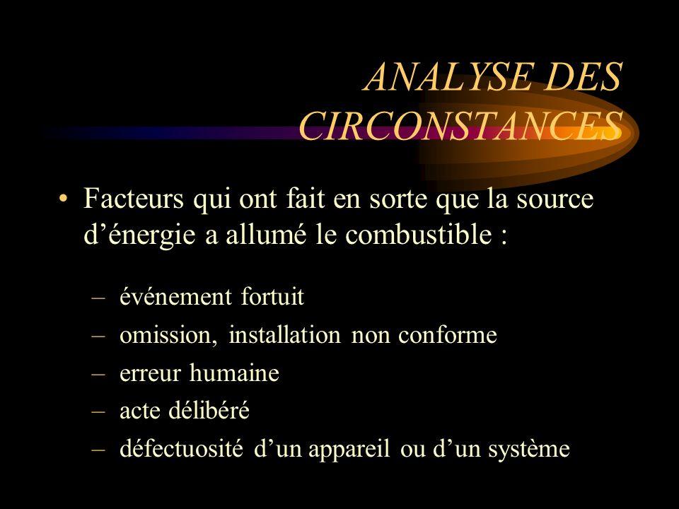 ANALYSE DES CIRCONSTANCES Facteurs qui ont fait en sorte que la source dénergie a allumé le combustible : – événement fortuit – omission, installation