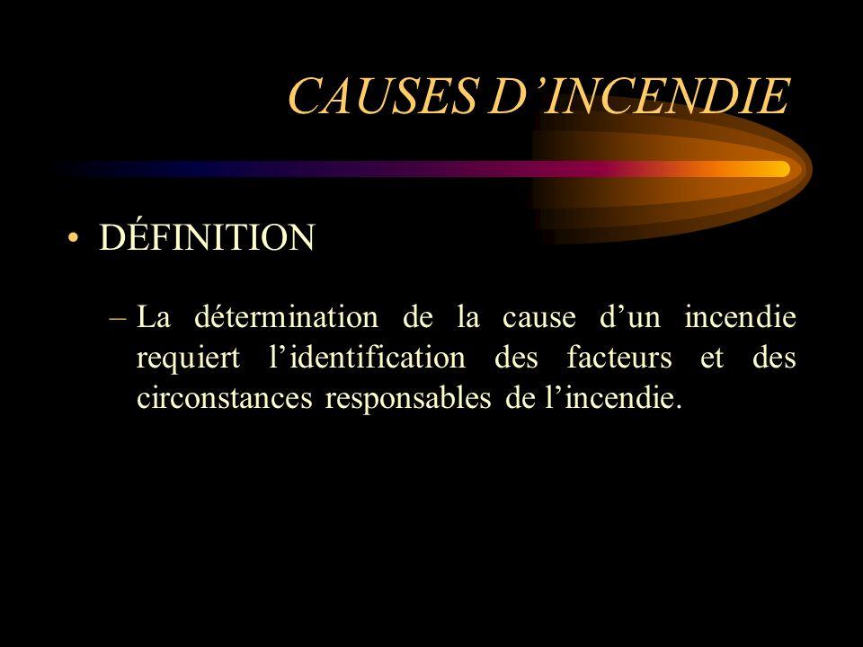 CAUSES DINCENDIE DÉFINITION –La détermination de la cause dun incendie requiert lidentification des facteurs et des circonstances responsables de linc