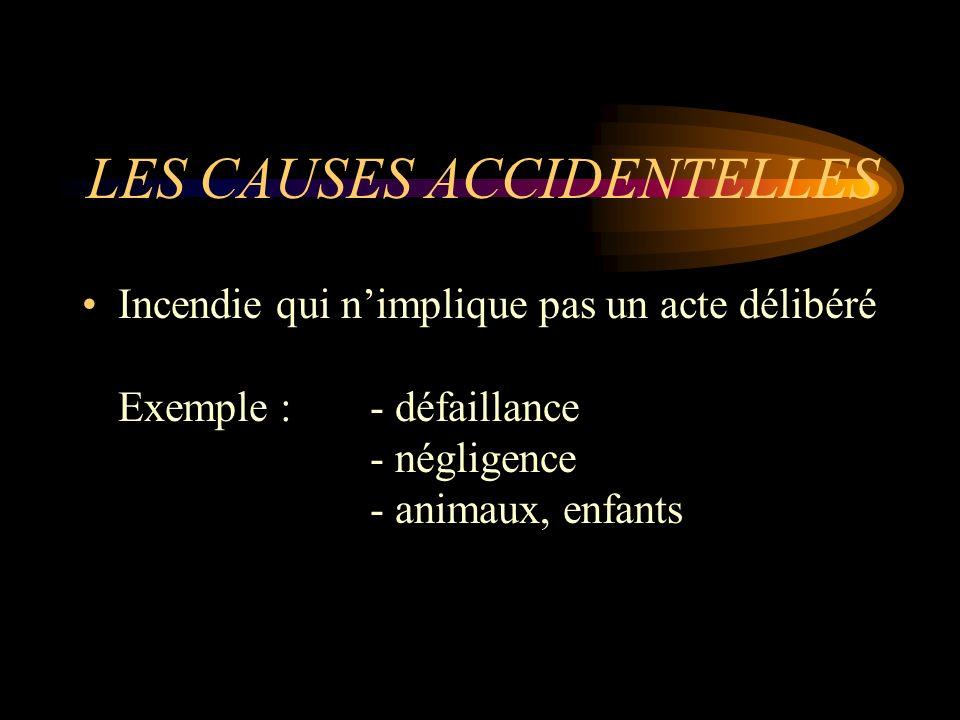LES CAUSES ACCIDENTELLES Incendie qui nimplique pas un acte délibéré Exemple : - défaillance - négligence - animaux, enfants