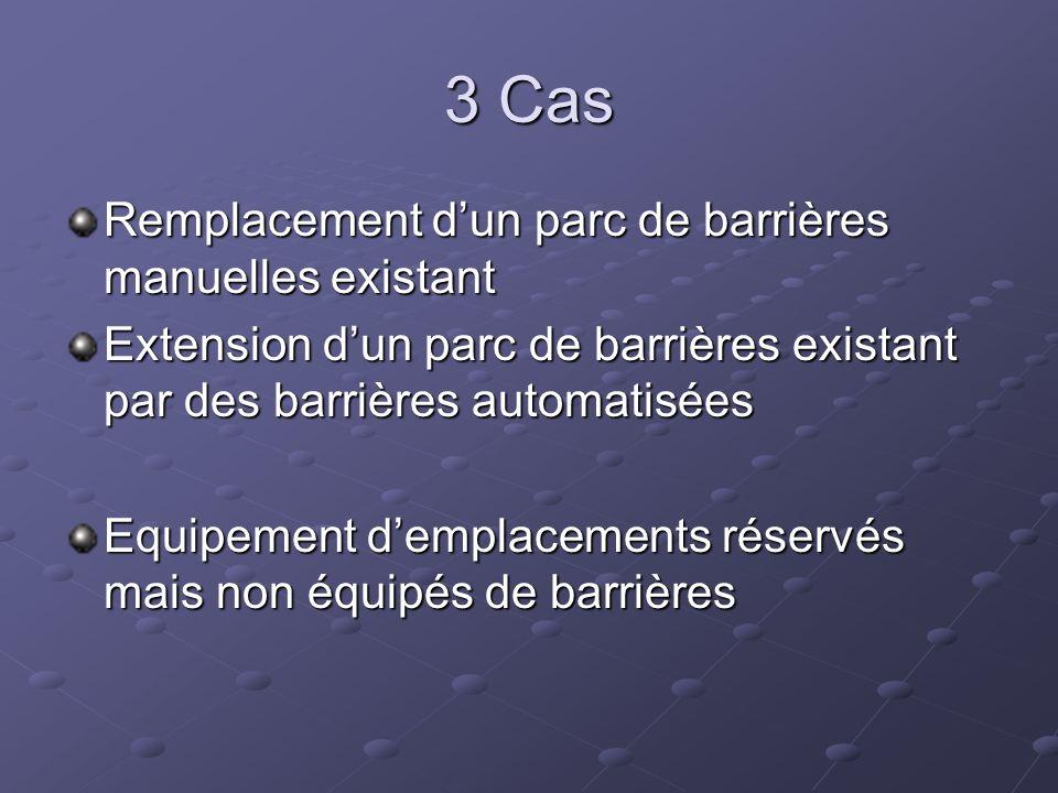 3 Cas Remplacement dun parc de barrières manuelles existant Extension dun parc de barrières existant par des barrières automatisées Equipement demplac