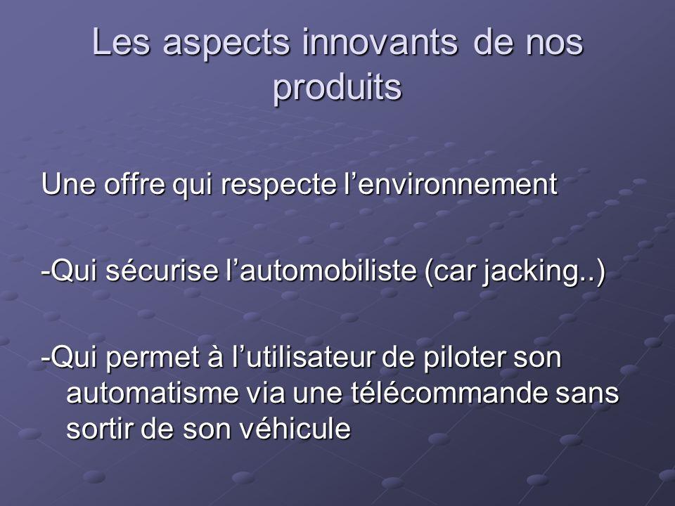 Les aspects innovants de nos produits Une offre qui respecte lenvironnement -Qui sécurise lautomobiliste (car jacking..) -Qui permet à lutilisateur de