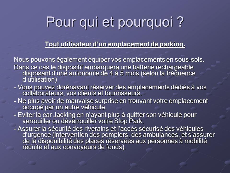 Pour qui et pourquoi ? Tout utilisateur dun emplacement de parking. Nous pouvons également équiper vos emplacements en sous-sols. Dans ce cas le dispo