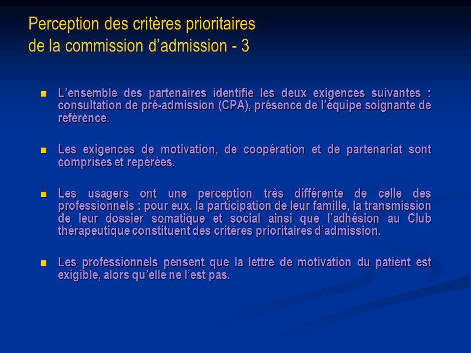 Perception des critères prioritaires de la commission dadmission - 3 Lensemble des partenaires identifie les deux exigences suivantes : consultation d