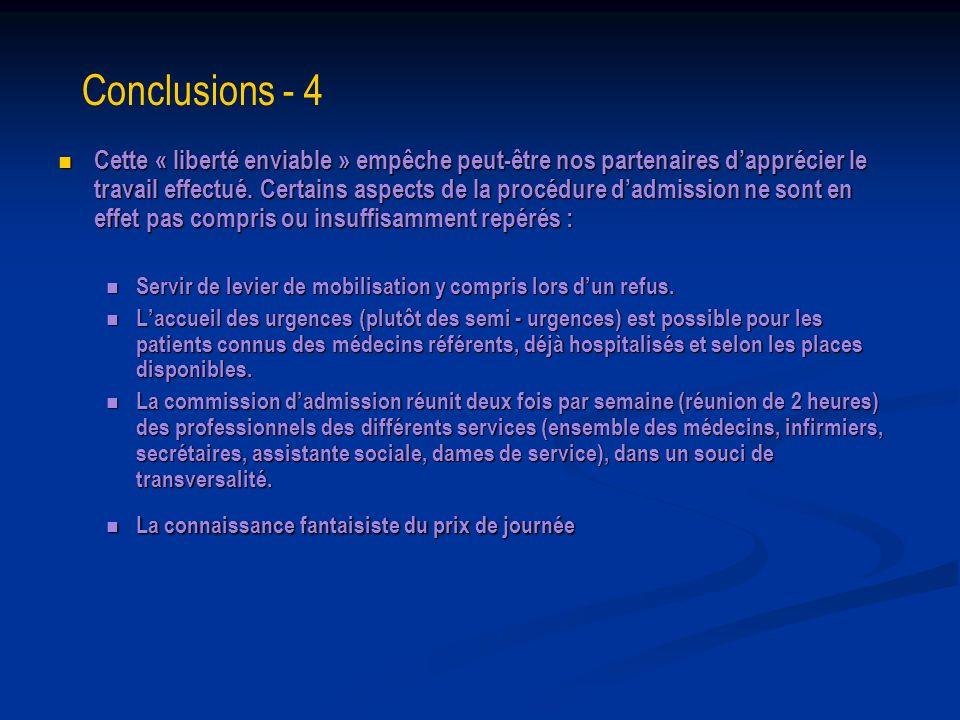Conclusions - 4 Cette « liberté enviable » empêche peut-être nos partenaires dapprécier le travail effectué. Certains aspects de la procédure dadmissi