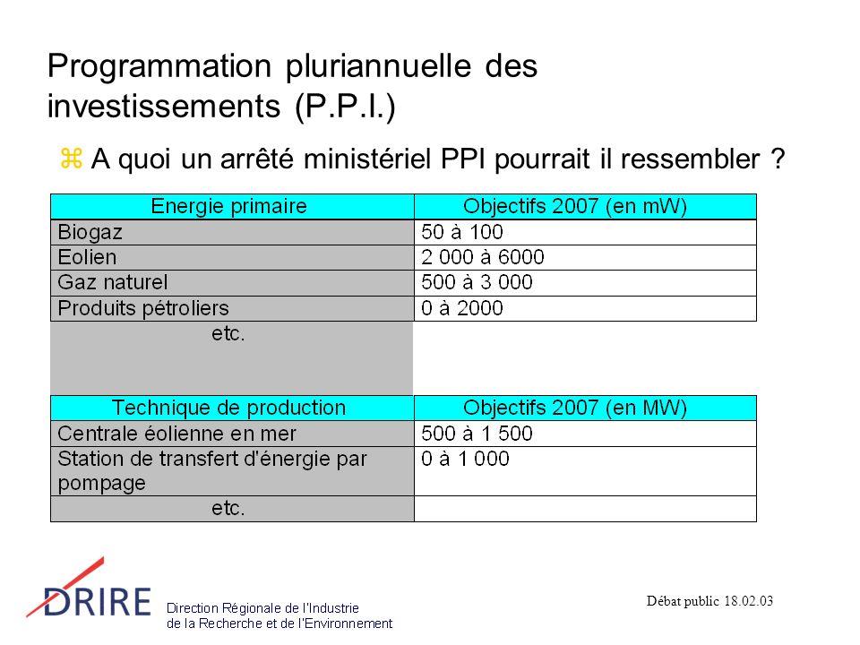 Programmation pluriannuelle des investissements (P.P.I.) zA quoi un arrêté ministériel PPI pourrait il ressembler .