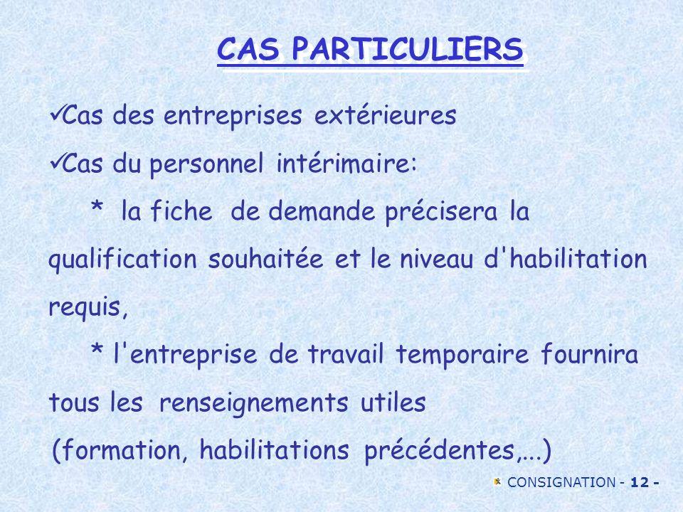 CONSIGNATION - 12 - CAS PARTICULIERS Cas des entreprises extérieures Cas du personnel intérimaire: * la fiche de demande précisera la qualification so