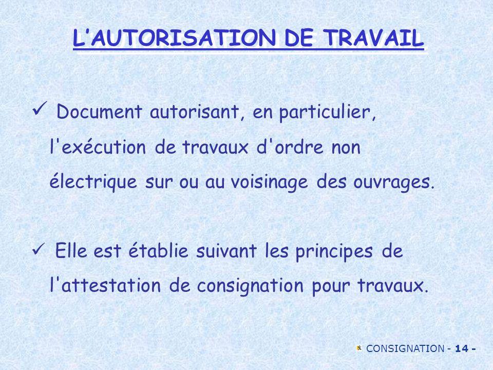 CONSIGNATION - 14 - LAUTORISATION DE TRAVAIL Document autorisant, en particulier, l'exécution de travaux d'ordre non électrique sur ou au voisinage de