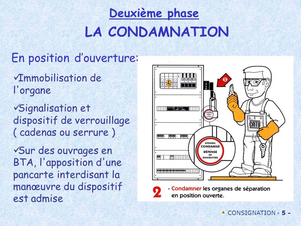 CONSIGNATION - 5 - Deuxième phase LA CONDAMNATION Immobilisation de l'organe Signalisation et dispositif de verrouillage ( cadenas ou serrure ) Sur de