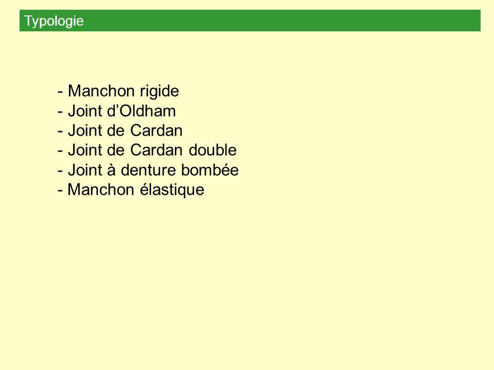 Typologie - Manchon rigide - Joint dOldham - Joint de Cardan - Joint de Cardan double - Joint à denture bombée - Manchon élastique
