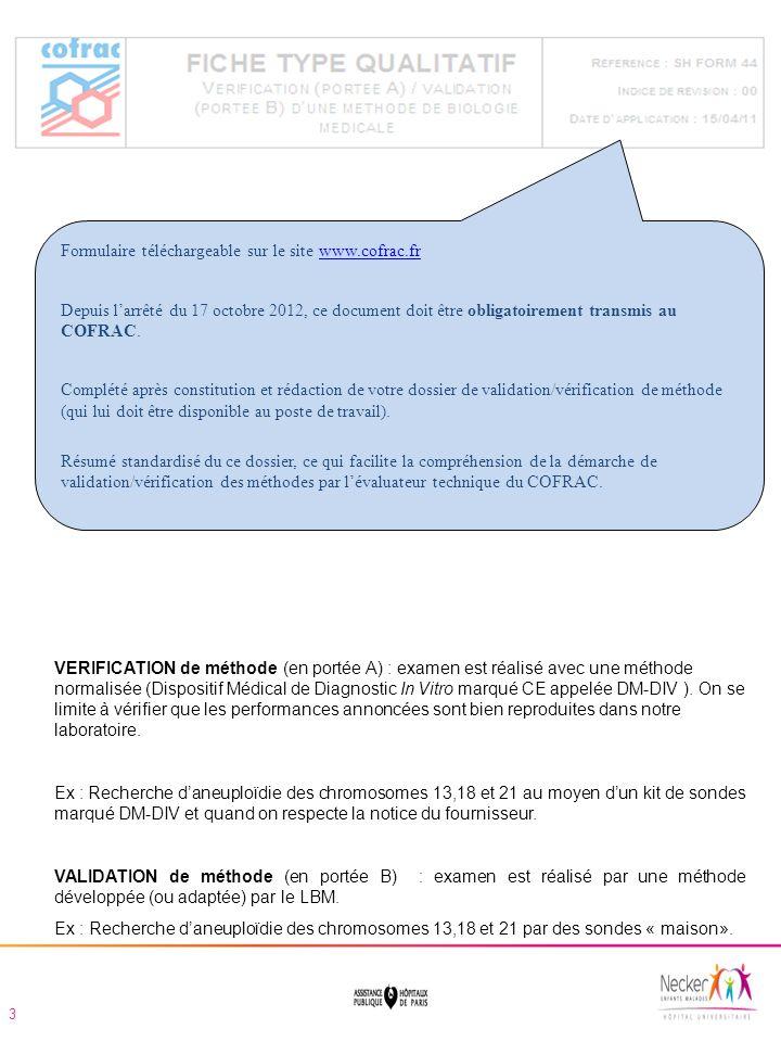 Paramètres à étudier lors dune vérification / validation de méthode Extrait du guide technique, SH GTA 04-rév.00-Avril 2011 Lobbying auprès de nos fournisseurs élargir loffre de DM DIV dans notre discipline.