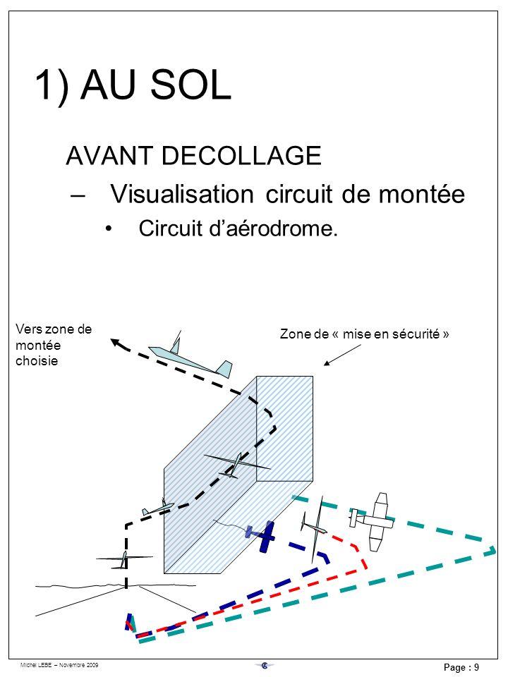 Michel LEBE – Novembre 2009 Page : 9 AVANT DECOLLAGE –Visualisation circuit de montée Circuit daérodrome. Vers zone de montée choisie Zone de « mise e