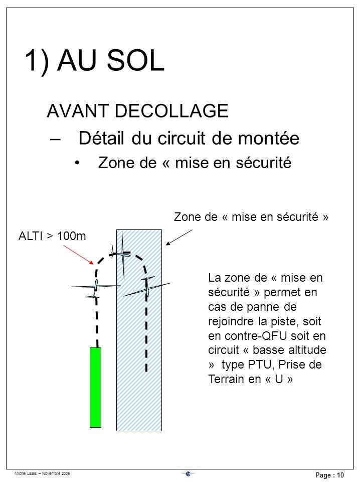 Michel LEBE – Novembre 2009 Page : 10 AVANT DECOLLAGE –Détail du circuit de montée Zone de « mise en sécurité ALTI > 100m Zone de « mise en sécurité »