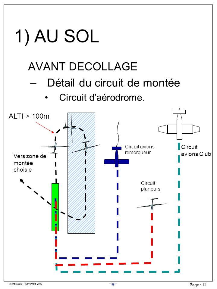 Michel LEBE – Novembre 2009 Page : 11 AVANT DECOLLAGE –Détail du circuit de montée Circuit daérodrome. ALTI > 100m Circuit avions remorqueur Circuit a