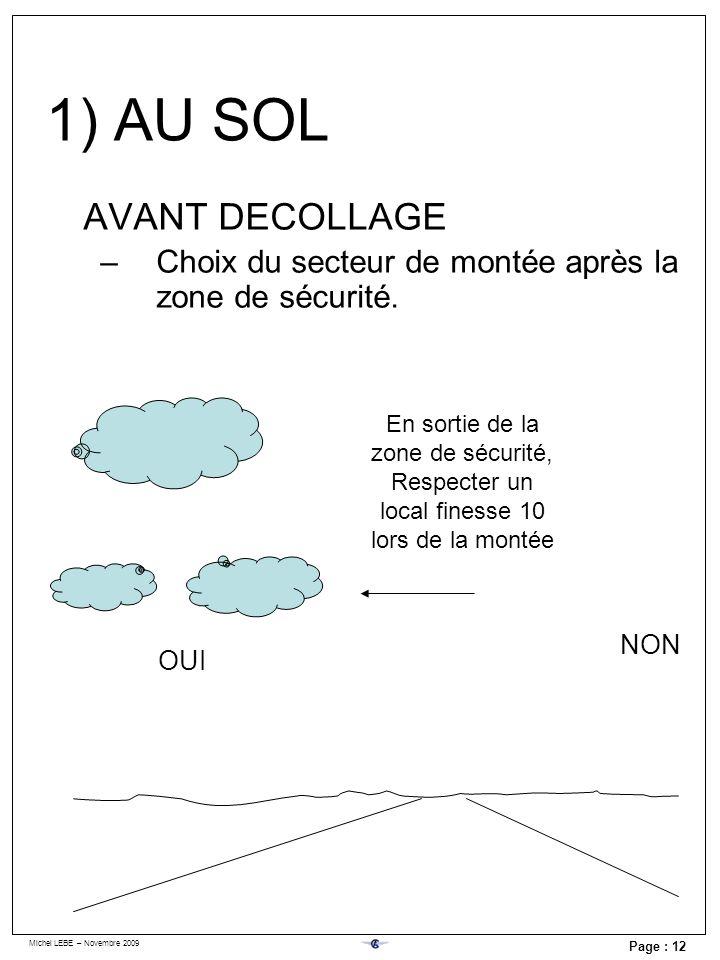 Michel LEBE – Novembre 2009 Page : 12 AVANT DECOLLAGE –Choix du secteur de montée après la zone de sécurité. OUI NON En sortie de la zone de sécurité,