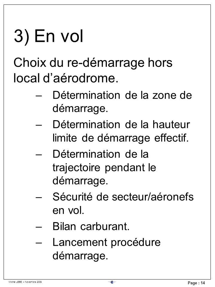 Michel LEBE – Novembre 2009 Page : 14 3) En vol Choix du re-démarrage hors local daérodrome. –Détermination de la zone de démarrage. –Détermination de