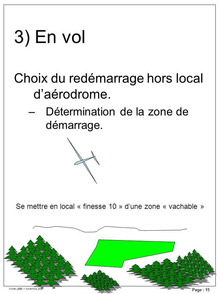 Michel LEBE – Novembre 2009 Page : 15 Choix du redémarrage hors local daérodrome. –Détermination de la zone de démarrage. Se mettre en local « finesse