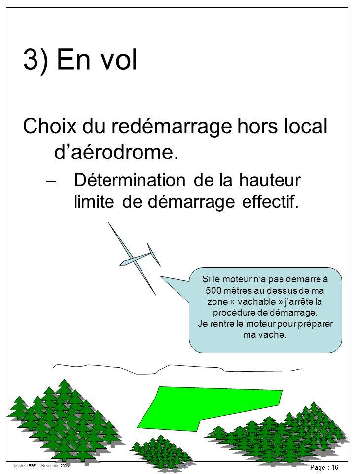 Michel LEBE – Novembre 2009 Page : 16 Choix du redémarrage hors local daérodrome. –Détermination de la hauteur limite de démarrage effectif. Si le mot